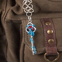 Wire Wrapped Key - Teal Blue Keychain with Red Accent