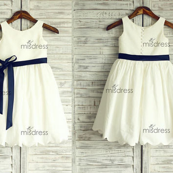 Ivory Cotton Flower Girl Dress/Navy Blue Sash Wedding Easter Junior Bridesmaid Baptism Baby Infant Children Toddler Kids Dress