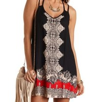 Scarf Print Strappy Shift Dress by Charlotte Russe - Black Combo