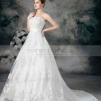 Strapless Lace over Satin Ball Gown with Beading and Sash