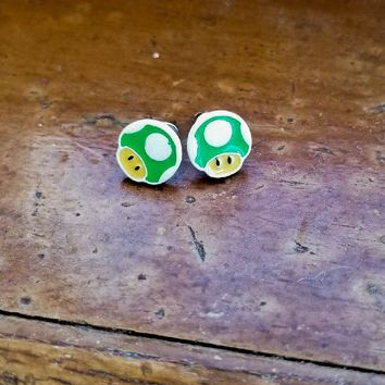 Super Mario Bros. One Up Mushroom Earrings