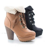 Huxley20L Natural By Bamboo, Faux Shearling Folded Ankle Cuff Lace Up Stacked Heel Booties