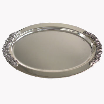 Ever Perfect 45cm Oval Steeling Silver Plated Metal Service Tray Serving Tray For Home Or Hotel Decoration 1088