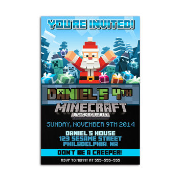 Minecraft Santa Inspired Kids Birthday Invitation Party Design