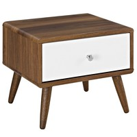 Transmit Mid-Century Style Nightstand White Lacquer / Walnut