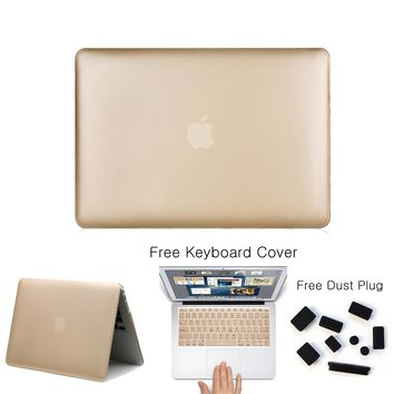 Frosted Matte Gold Champagne Notebook Sleeve Laptop Case For Macbook Pro 13 15 Air 11 13 Retina 13 15 Protective Shell Cases