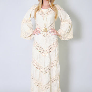 Vintage Wedding Dress 60s Dell Originals Bell Sleeve Crochet Hippie BOHO Wedding Dress S Mexican Wedding Dress