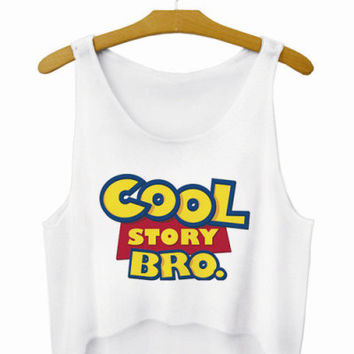 Cool Story Bro Letters Crop Top Summer Style Tank Top Women's Top