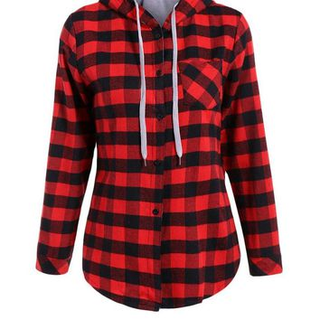 Gamiss Fashion Women Blouses Hooded Plaid Shirts 4 Colors Women Casual Cotton Blusas Femme Even a hat Shirt Tops