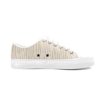 Brown Stripes Theme White Base Women's Nonslip Canvas Shoes