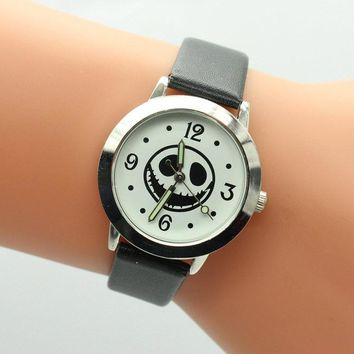 2017New Arrival Top sales The Nightmare Before Christmas Jack Skull Skeleton Quartz Watch Mens Lady kids Halloween Gifts