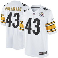 Men's Pittsburgh Steelers Troy Polamalu Nike White Limited Jersey
