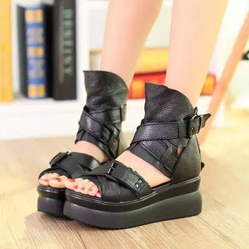 2017 Summer Genuine Leather Women Sandals Platform Women Shoes Wedge Heel Fish Head High Heels Black Sandals Singles Shoes 25