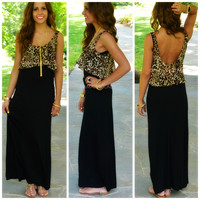 Wild Side Black Leopard Maxi Dress