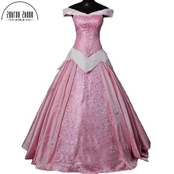Top Quality 2018 New Arrival Sleeping Beauty Princess Aurora Cosplay Costume For Adult women Party Costume Dress Custom-Made