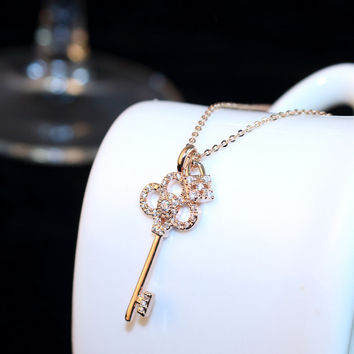 Jewelry Shiny Stylish Gift New Arrival Diamonds Pendant Hot Sale Lock Accessory Summer Necklace [10065716038]