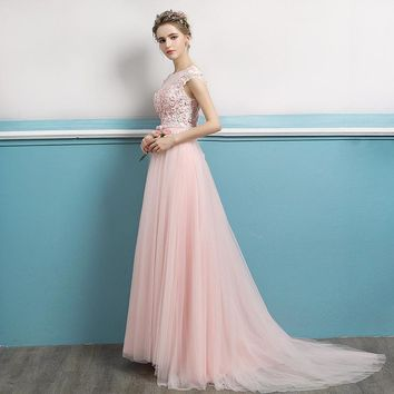 Pink Backless A-line Flower Evening Dresses Simple Pattern Party Appliques Gowns Prom Dresses