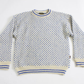 Vintage Wool Sweater - Norwegian Men's Ivory & Blue Knit Pullover Crewneck - Large