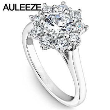 14KT White Gold Luxury Colorless Lab Diamond Grown Halo