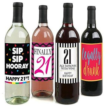 Chic 21st Birthday Wine Label Pack  Birthday Party Supplies Ideas and Decorations  Funny Birthday Gifts for Women