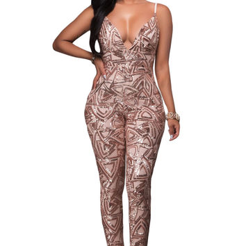 Rose Gold Sequins Bare Back Jumpsuit