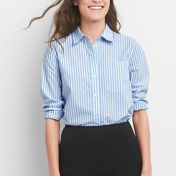 Boyfriend Stripe Shirt in Poplin|gap