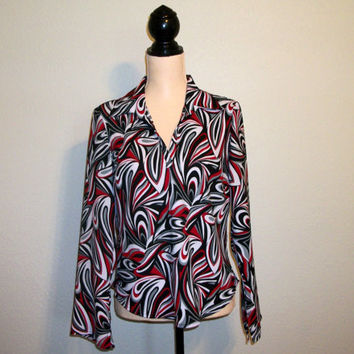 Retro Blouse Long Sleeve Top Psychedelic Medium Flare Sleeve Red & Black Blouse 70s Style Clothing 1970s Top FREE SHIPPING Womens Clothing