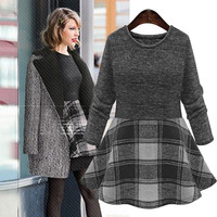 Plaid Long-Sleeve A-Line Knitted Dress