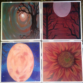 Fall Autumn- Set of 4, Tile Coasters, original art, paintings, gift, OOAK