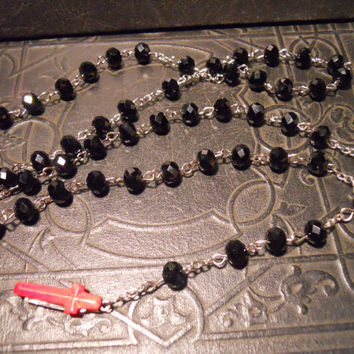"Exorcism Red Cross Black Rosary ""Sister of NO MERCY"" Secret Knife"