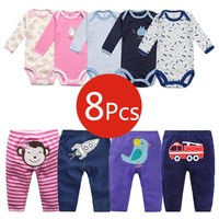 8Pcs Baby Clothing Sets Autumn Baby Girl Clothes Cotton Newborn Clothes Roupas Bebe Infant Baby Girl Clothes Baby Rompers+Pants