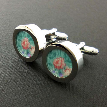 Blue floral mens cuff links – cotton second 2nd anniversary gift – aqua wedding groom or groomsmen cufflinks – mans accessories