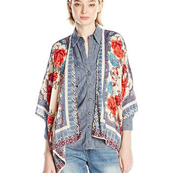 Angie Junior's Rose Printed Soft Kimono Cardigan, Beige, Medium