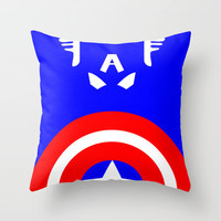 Captain America Minimalist Throw Pillow by Adrian Mentus