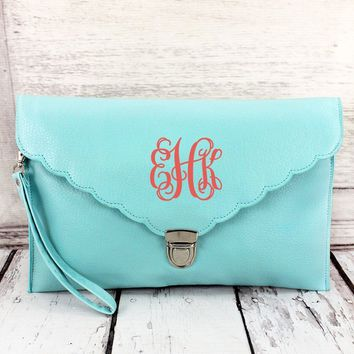 MONOGRAMMED LIGHT BLUE SCALLOPED ENVELOPE CLUTCH BAG