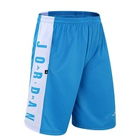 JORDAN Fashion Men Embroidering Print Sport Shorts Pants Blue
