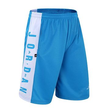 fa35488d6650 JORDAN Fashion Men Embroidering Print Sport Shorts Pants Blue