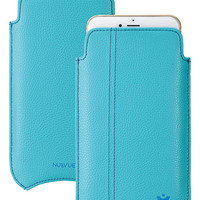 "Faux Leather ""Screen Cleaning"" iPhone 6/6s Plus Case Blue, Antimicrobial Interior, Blue Stitching"