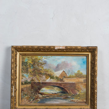 Fall Landscape Vintage Oil Painting
