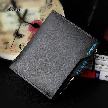 1Pcs Men Wallets Men Faux Leather ID credit Card holder Clutch Bifold Coin Purse With Zipper Wallet For Male Drop Ship Sale