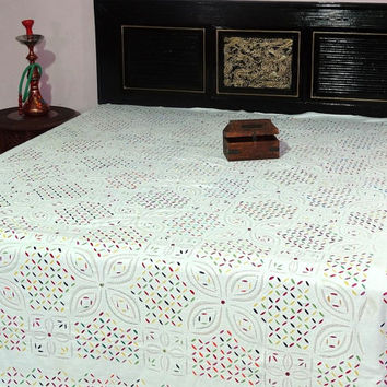 king size applique kantha bedcover handmade fine stitch cutwork colourful kantha bedspread