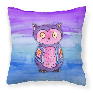 Pink and Purple Owl Watercolor Fabric Decorative Pillow BB7427PW1818