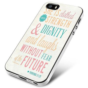 Bible Verse (she is clothed colorful) iPhone 5 | 5S | 5SE Case Planetscase.com