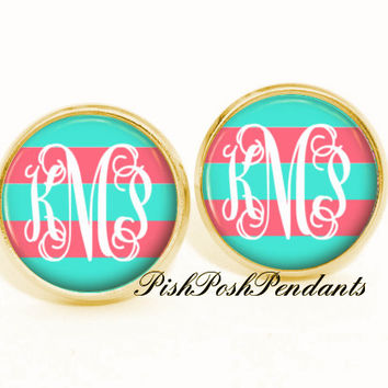 Monogram Earrings Tiffany Blue Coral, Personalized Monogram Stud Earrings, Monogram Jewelry, Bridesmaid Jewelry (522)