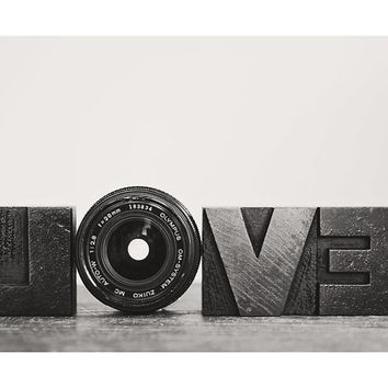 camera lens love black and white photo print - whimsical fine art still life photography, aperture - 14x11