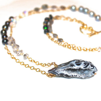 Geode Necklace Geode Jewelry Long Stacking Necklace Boho Style Gemstone Necklace Druzy Jewelry As Seen at GBK MTV Movie Awards Gift Lounge