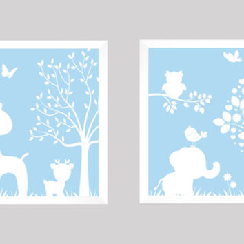 White on Baby Blue Enchanted Forest Animals, CUSTOMIZE YOUR COLORS, 8x10 Prints, set of 2, nursery decor nursery print art baby room decor