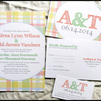 Country Picnic Plaid Wedding Invitation Set by RunkPock Designs : Outdoor Rustic Invitation Suite shown in coral / yellow / mint / blue