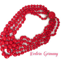 Red Beaded Necklace - Vintage Western Germany 5 Strand Necklace European Vintage 1960s Jewelry, Valentine's Day Gift