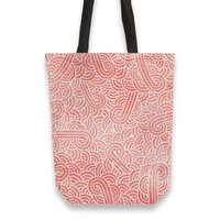 'Peach echo and white swirls doodles' Tote Bags by Savousepate on miPic